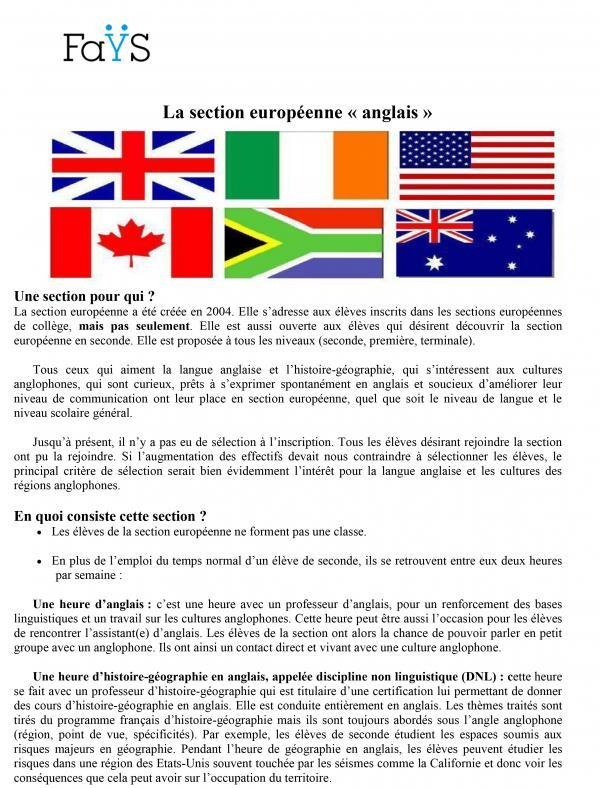 Section Europeenne Anglais Sections Europeennes Lycee Frederic Fays